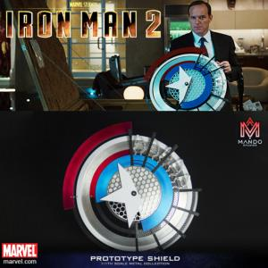 IRON MAN 1 & 2 - BOUCLIER PROTOTYPE CAPTAIN AMERICA OFFICIEL TOUT METAL + SUPPORT (MANDO STUDIOS)