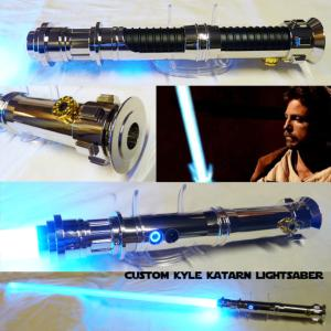 STAR WARS - SABRE LASER KYLE KATARN CUSTOM LIGHTSABER (FAIT MAIN - LAME AMOVIBLE - PRACTICAL)