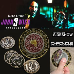 "JOHN WICK 3 : PARABELLUM - ""ARABIC BLOOD OATH MARKER"" MARQUEUR ARABE DE SERMENT DE SANG  & PIECES D'OR CONTINENTAL OFFICIELS (CHRONICLES COLLECTIBLES - SIDESHOW)"