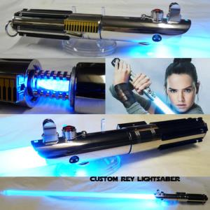 STAR WARS - SABRE LASER REY AVEC CRYSTAL (FAIT MAIN - LAME AMOVIBLE - PRACTICAL)