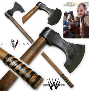 VIKINGS (SERIE) - HACHE FLOKI REPRODUCTION AUTHENTIQUE (PRACTICAL MAITRE FORGERON - NO LIMITS)