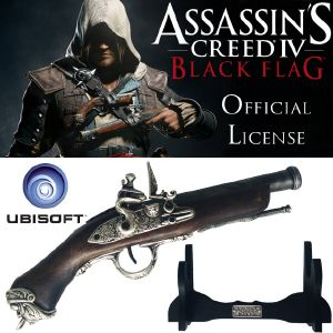 "ASSASSIN'S CREED IV - PISTOLET "" SMOOTH BORE "" DE EDWARD KENWAY OFFICIEL + SUPPORT BOIS DELUXE"