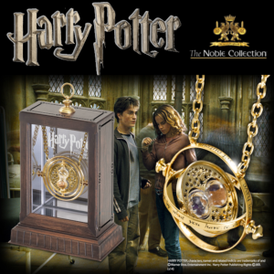 HARRY POTTER - PENDENTIF RETOURNEUR DE TEMPS OFFICIEL PLAQUE OR 24 CARATS AVEC SUPPORT DELUXE