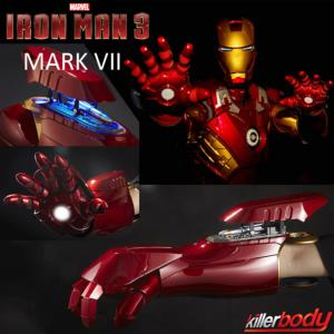 IRON MAN 3 - MAIN ET BRAS MARK VII OFFICIELS MOTORISES AVEC SON, LED & LASER (MARVEL - KILLERBODY)