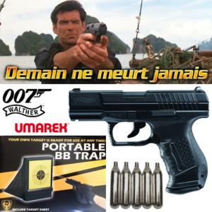 JAMES BOND : DEMAIN NE MEURT JAMAIS  - PISTOLET WALTHER P99 OFFICIEL EN METAL + CIBLE PLIANTE + CO2