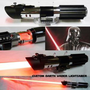 "STAR WARS - SABRE LASER "" DARTH VADER "" LIGHTSABER"" AVEC CRYSTAL (LAME AMOVIBLE-PRACTICAL-FAIT MAIN)"
