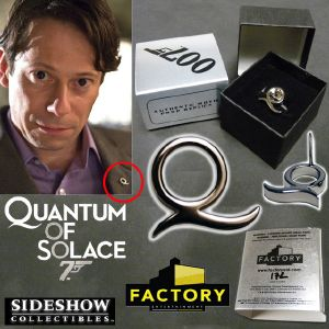JAMES BOND : QUANTUM OF SOLACE - Q 'QUANTUM ORGANIZATION' LABEL PIN LIMITED EDITION PROP REPLICA