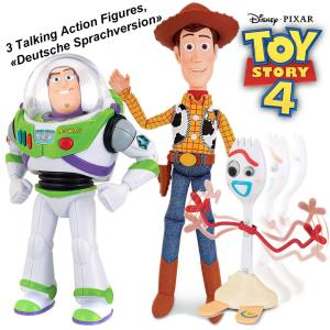 TOY STORY 4 - 3 FIGURINES TAILLE 1/1 INTERACTIF MOBILE AVEC SON ( ATTENTION ! LANGAGE ALLEMAND ! )