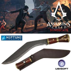 ASSASSIN'S CREED SYNDICATE - KUKRI DE JACOB FRYE OFFICIEL + FOURREAU CUIR (UBISOFT)