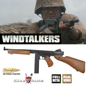 WINDTALKERS - FUSIL D'ASSAUT THOMPSON M1A1 EN METAL ET BOIS VERITABLE, TOUT AUTOMATIQUE